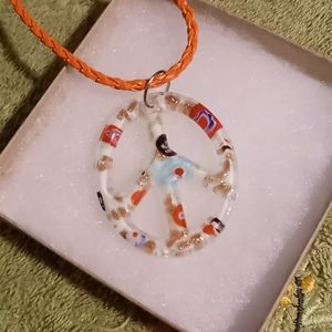 Glass peace sign necklace